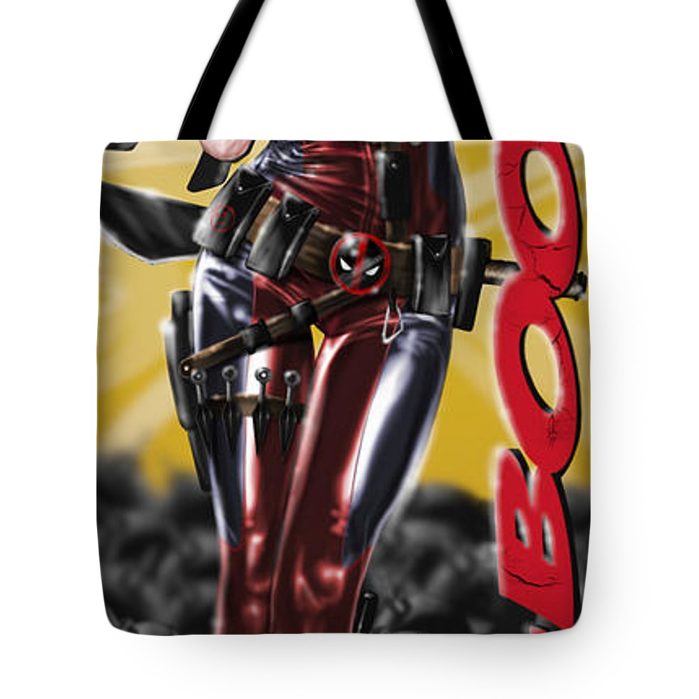 Pete Tote Bag featuring the painting Lil Miss Deadpool by Pete Tapang