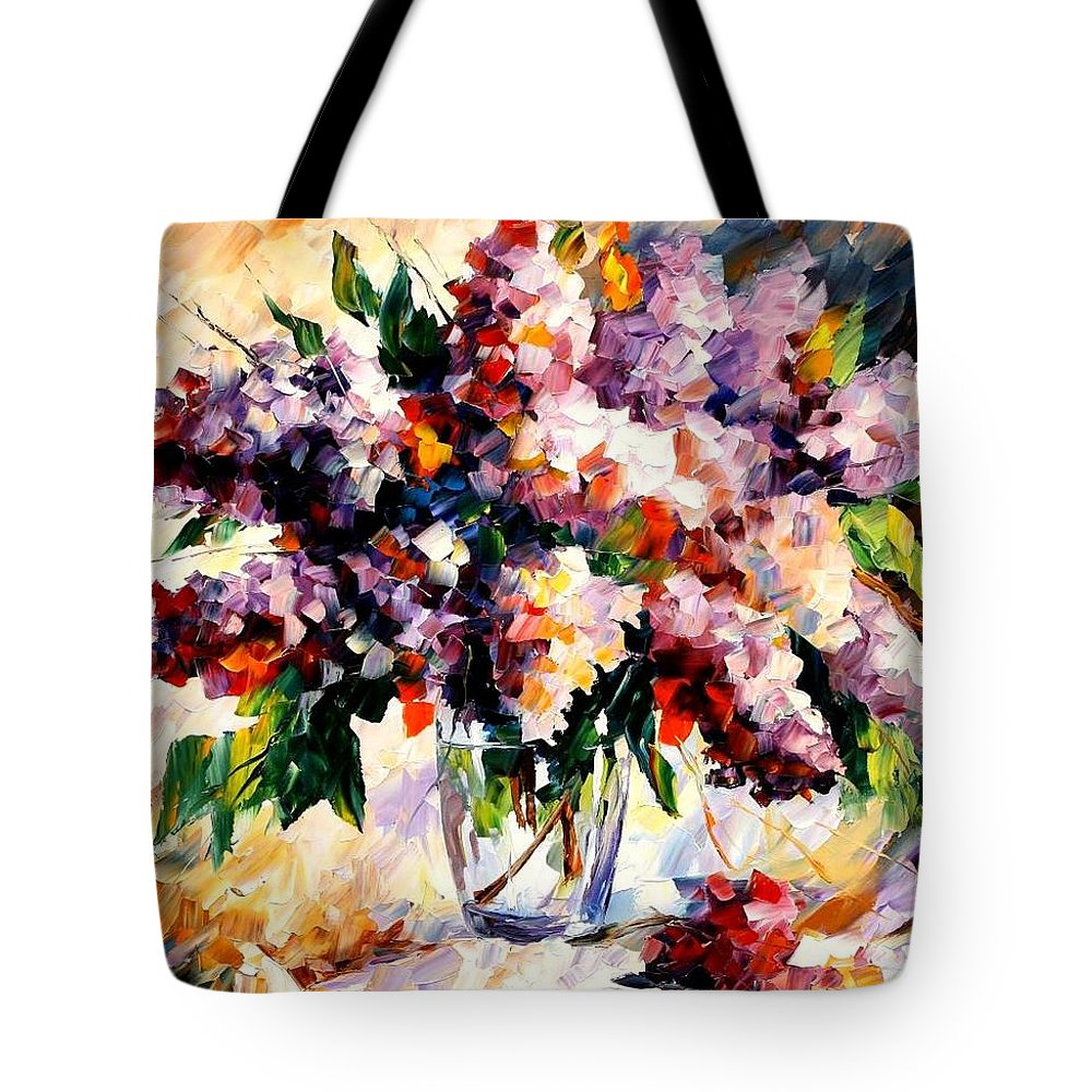 Afremov Tote Bag featuring the painting Lilac - Morning Mood by Leonid Afremov