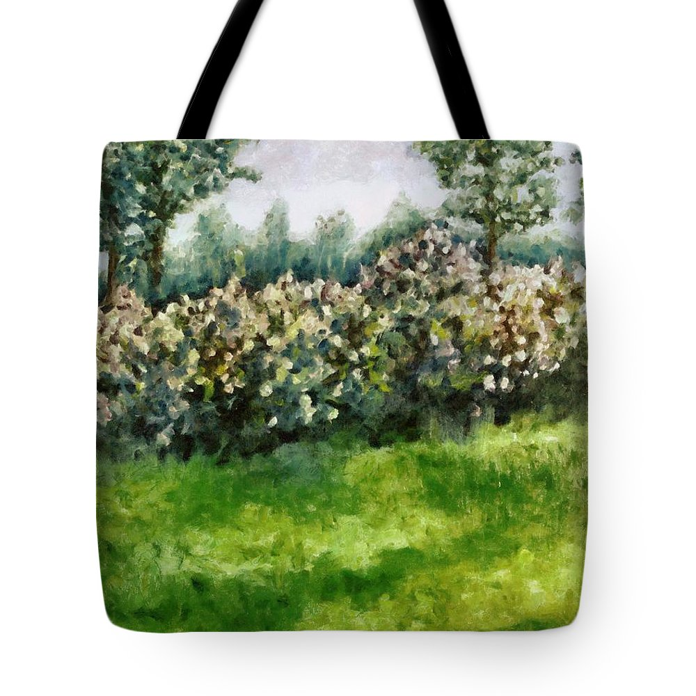 Spring Tote Bag featuring the painting Lilac Bushes In Springtime by Michelle Calkins