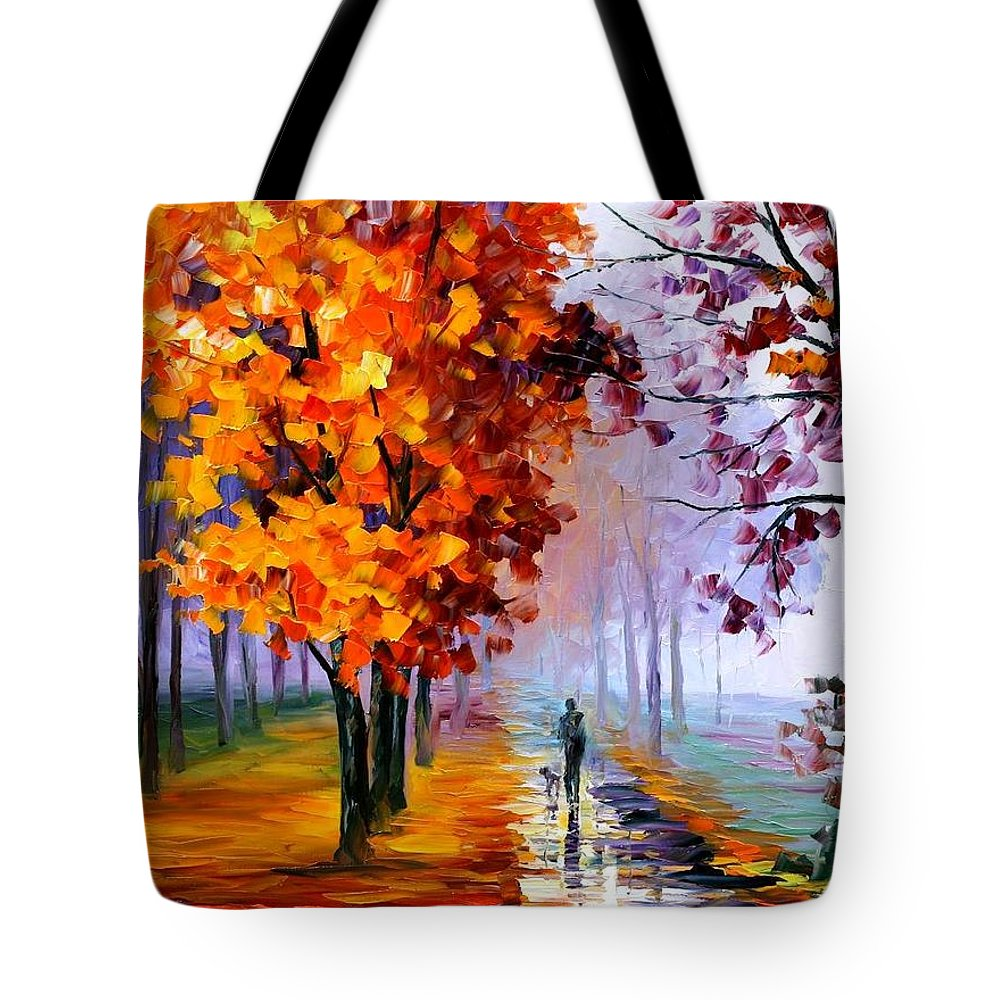 Afremov Tote Bag featuring the painting Lilac Fog by Leonid Afremov