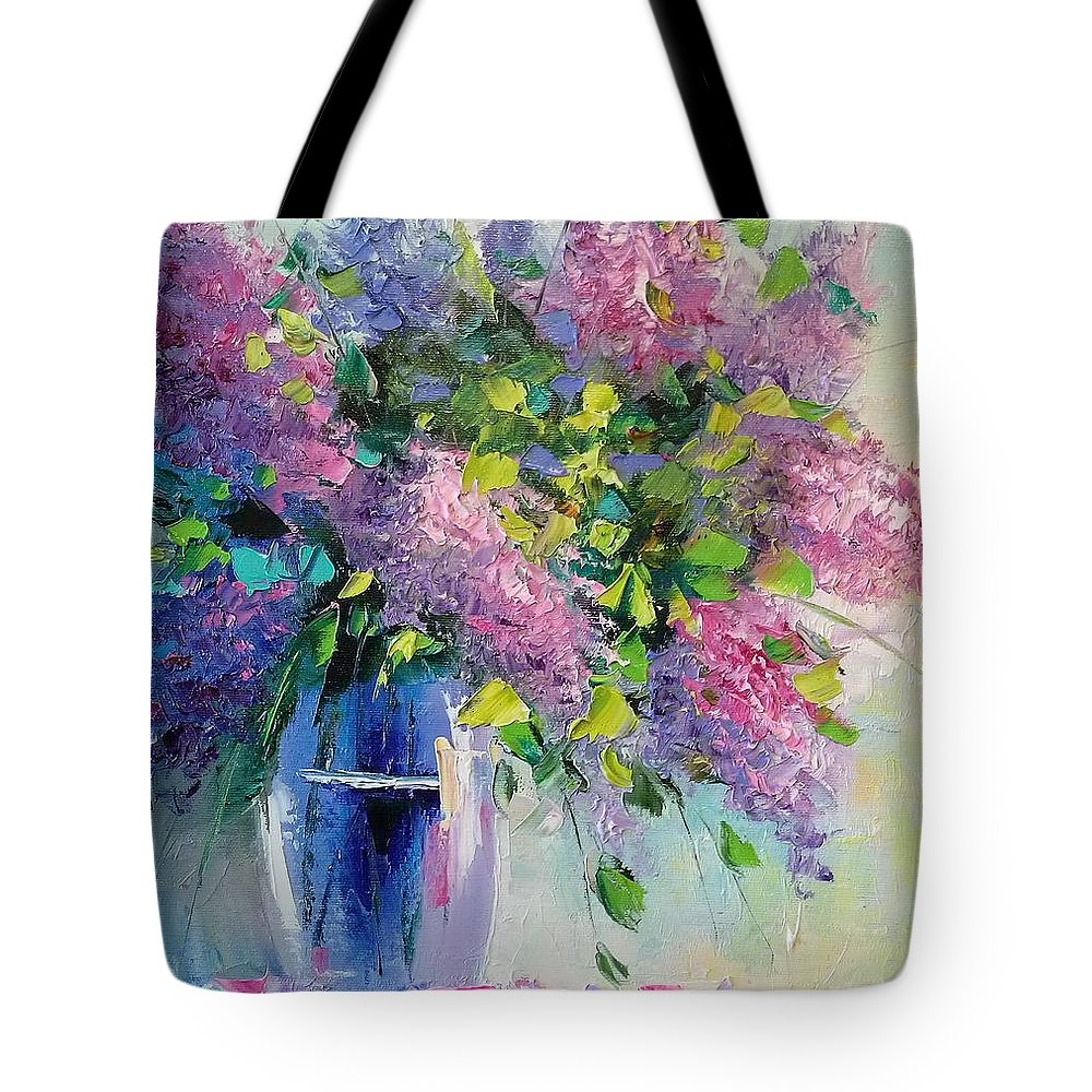 Lilac Tote Bag featuring the painting Lilac by Olha Darchuk