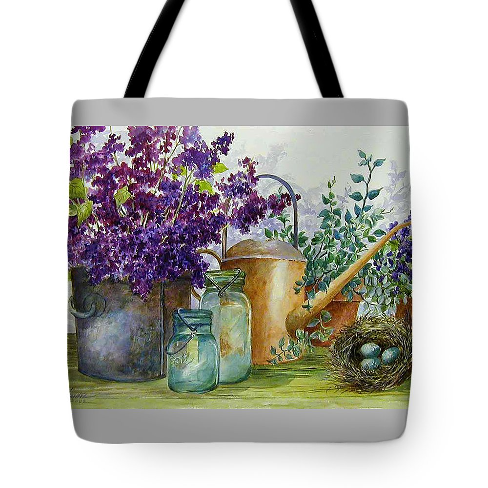 Still Life;lilacs; Ball Jars; Watering Can;bird Nest; Bird Eggs; Tote Bag featuring the painting Lilacs And Ball Jars by Lois Mountz