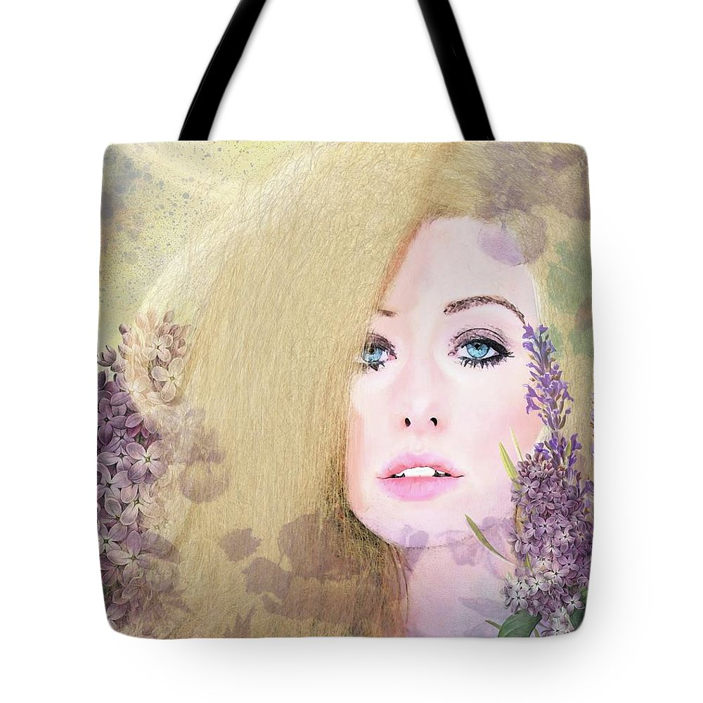 Girl Tote Bag featuring the digital art Lilacs And Lavender by Terry Fleckney