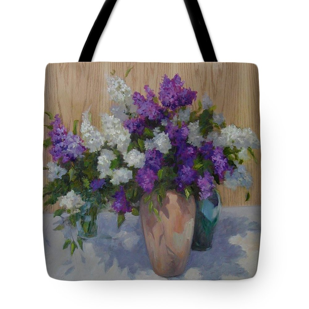 Lilacs Tote Bag featuring the painting Lilacs by Patricia Kness