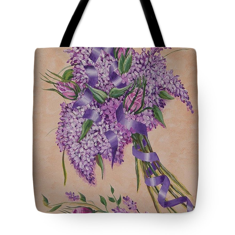 Lilacs Tote Bag featuring the painting Lilacs by Quwatha Valentine