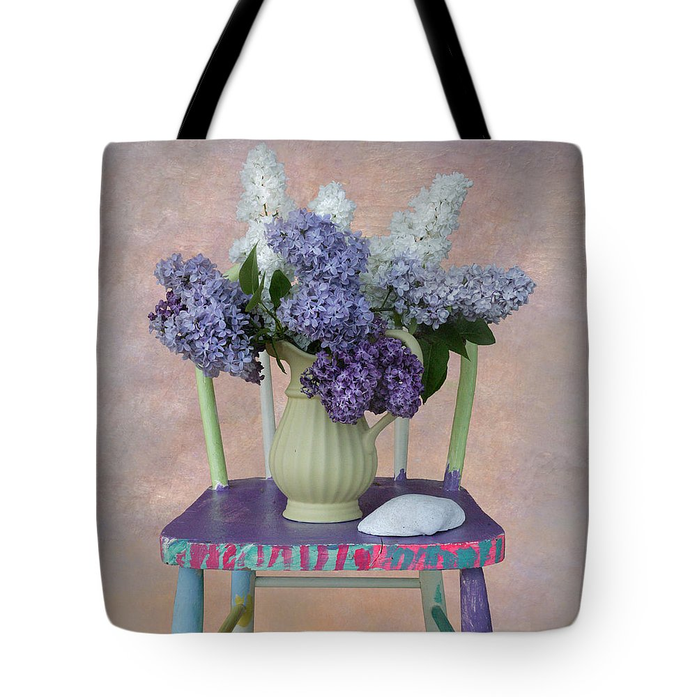 Flowers Tote Bag featuring the photograph Lilacs With Chair And Shell by Jeff Burgess