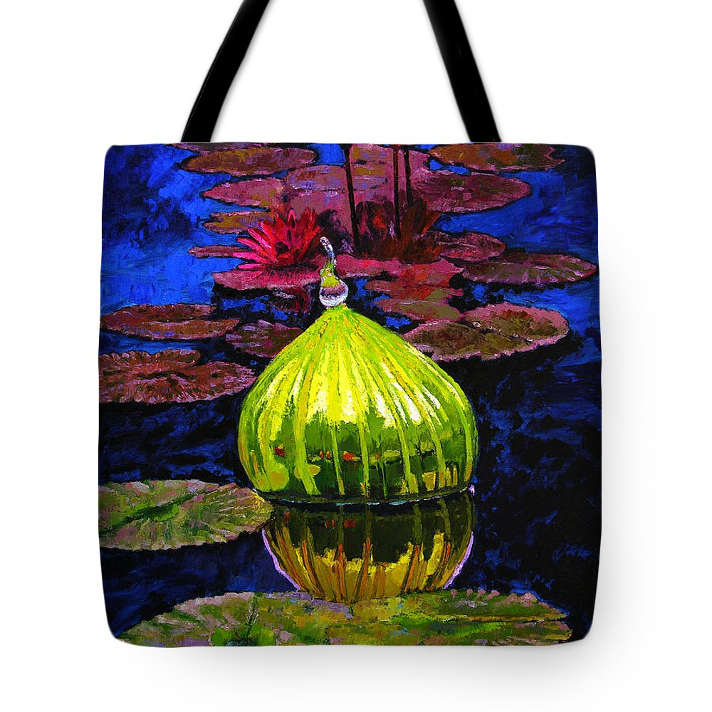 Blown Glass Tote Bag featuring the painting Lilies And Glass Reflections by John Lautermilch