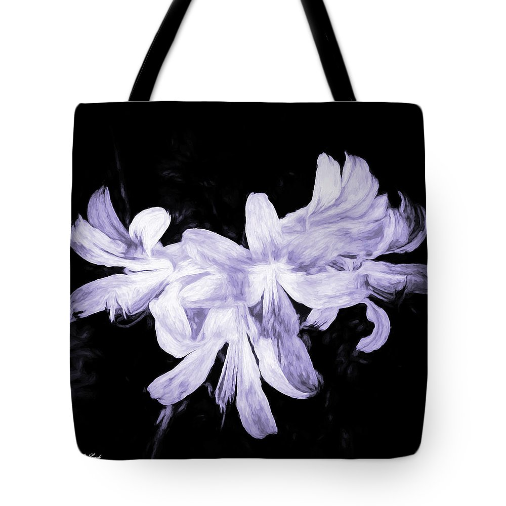 Lilies Tote Bag featuring the mixed media Lilies In Black And White Art by Debra Lynch