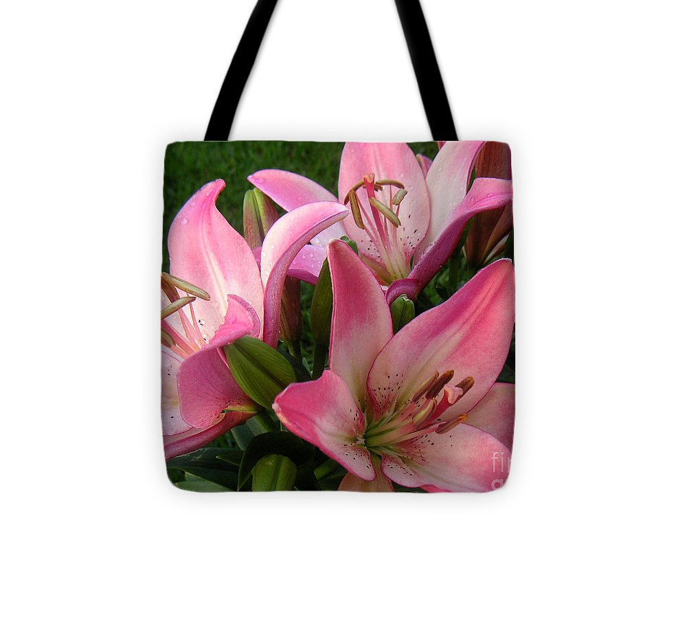 Nature Tote Bag featuring the photograph Lilies In Company by Lucyna A M Green