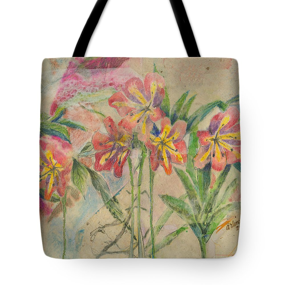 Flowers Tote Bag featuring the mixed media Lilies In Disguise by Arline Wagner