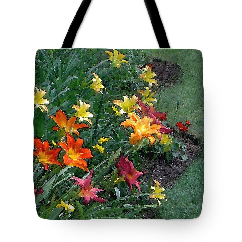 Lily Tote Bag featuring the photograph Lilies On Parade by Carolyn Jacob