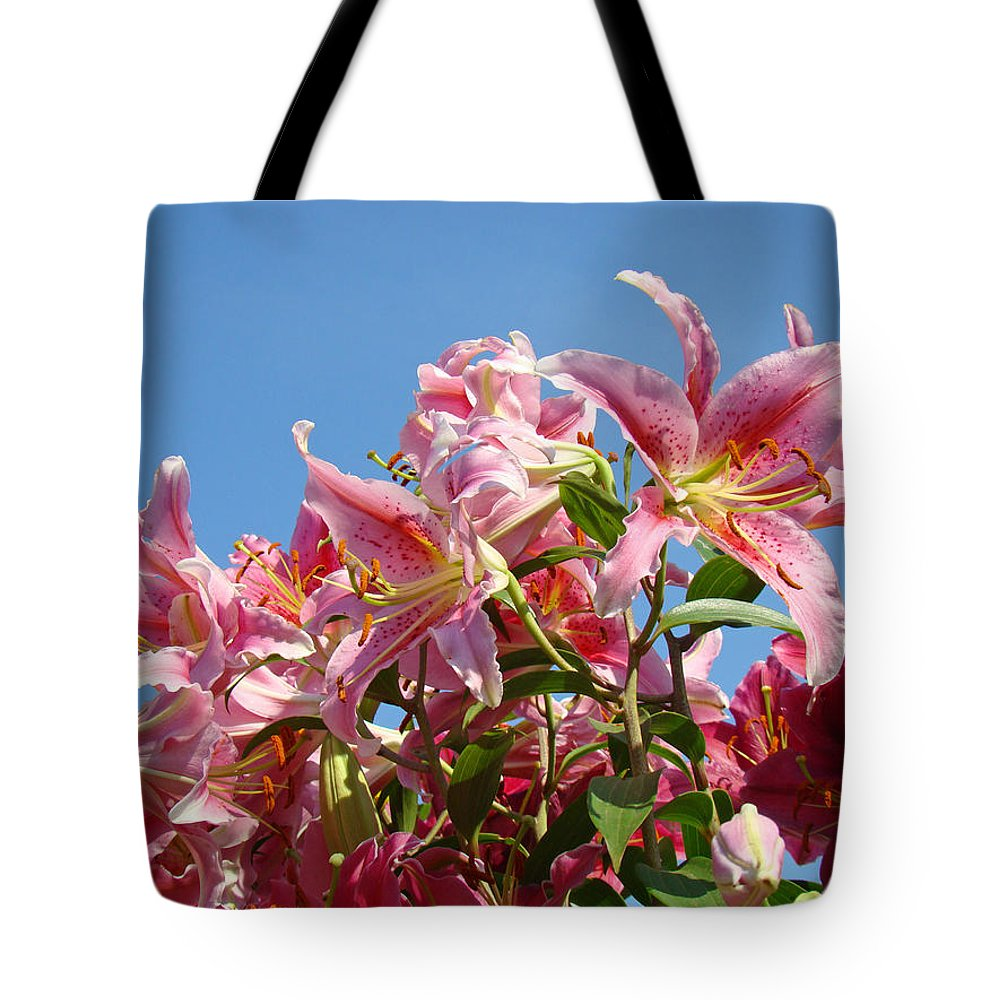 Lilies Tote Bag featuring the photograph Lilies Pink Lily Flowers Art Prints Floral Summer Garden Baslee Troutman by Baslee Troutman