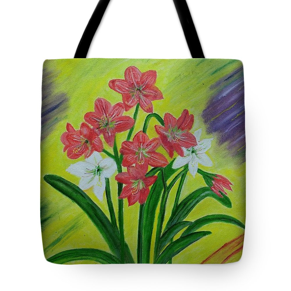 Red Lilies Tote Bag featuring the painting Lilies by Suma GV