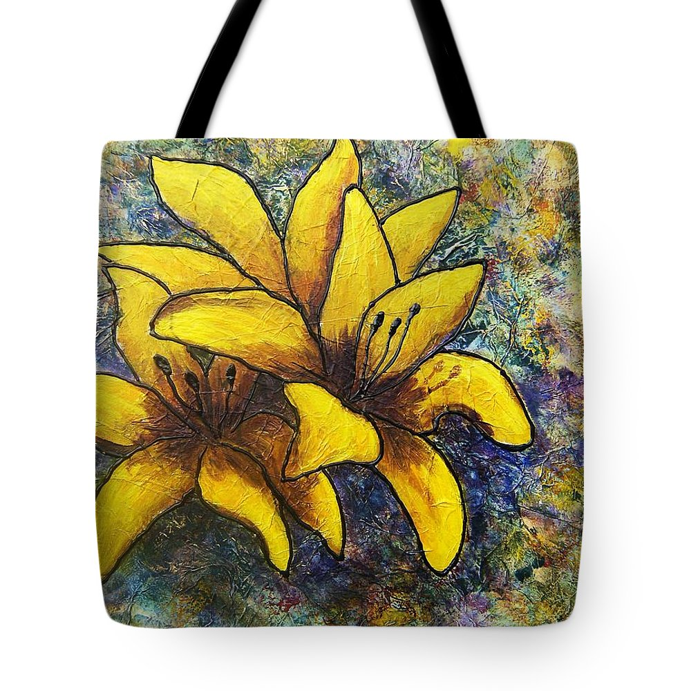 Flowers Tote Bag featuring the painting Lilies by Tami Booher