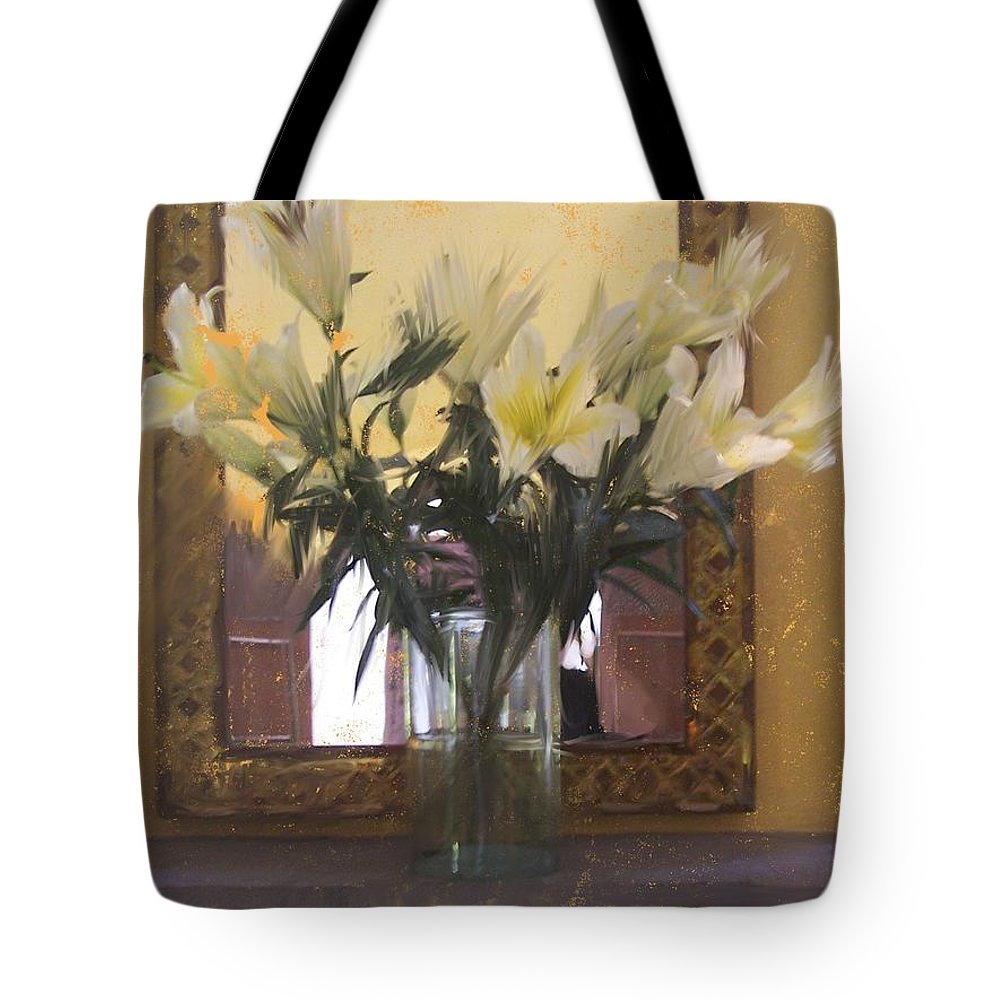 Floral Tote Bag featuring the painting Lilies by Thomas Tribby