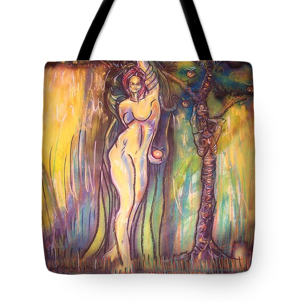 Lilith Tote Bag featuring the painting Lilith Satan Adam And The Fruit by Americo Salazar