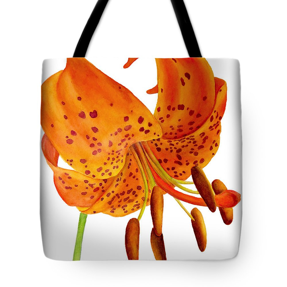 Lily Tote Bag featuring the painting Orange Lily by Kristina Spitzner
