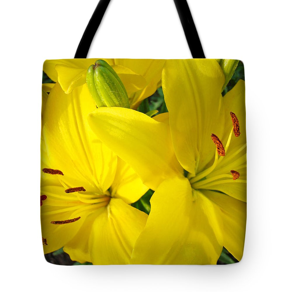 Lilies Tote Bag featuring the photograph Lilly Flowers Art Prints Yellow Lilies Floral Baslee Troutman by Baslee Troutman
