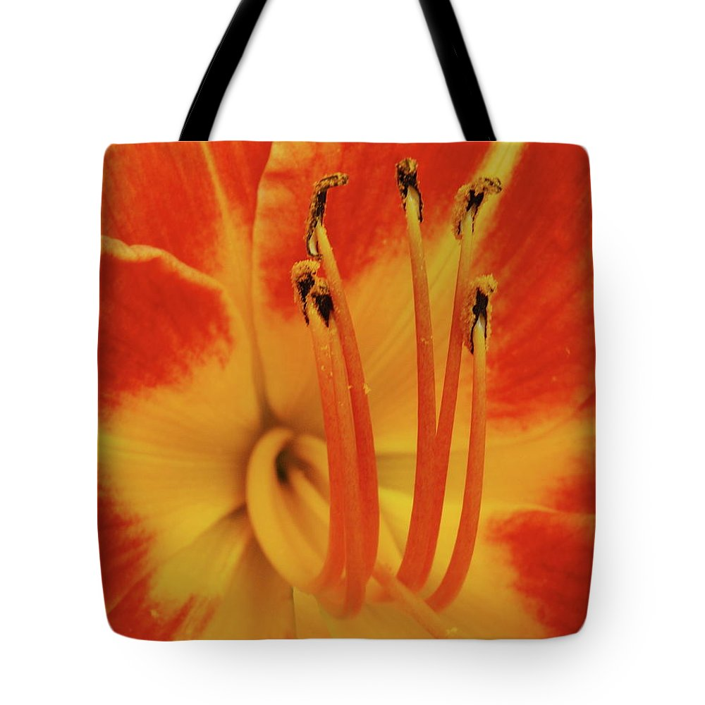 Lilly Tote Bag featuring the photograph Lilly Macro by Michael Peychich