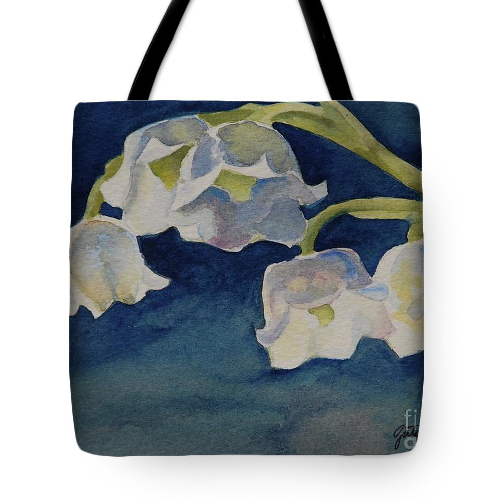 Lilly Of The Valley Tote Bag featuring the painting Lilly Of The Valley by Gretchen Bjornson