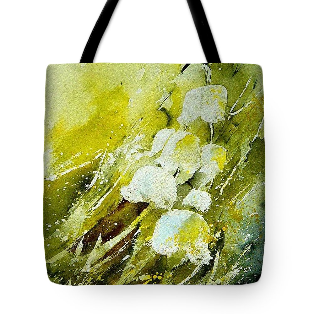 Flowers Tote Bag featuring the painting Lilly Of The Valley by Pol Ledent