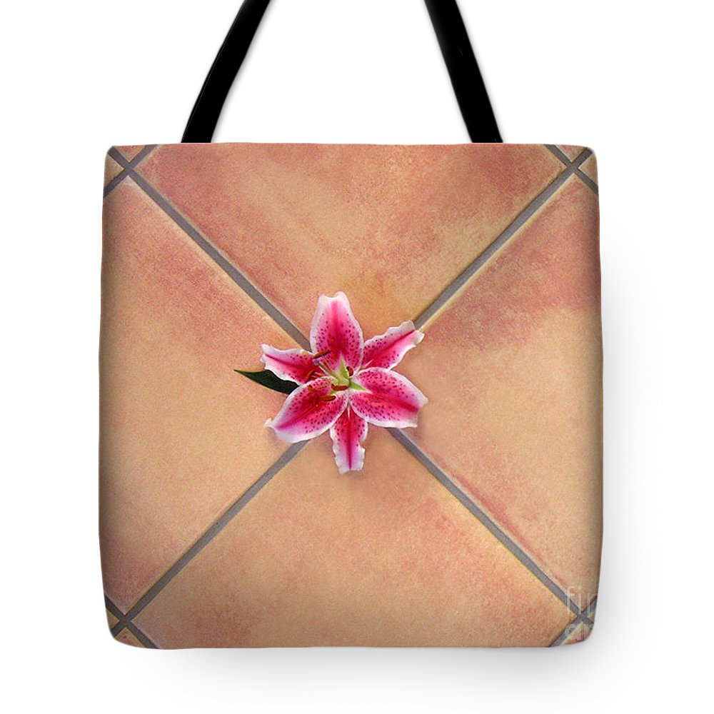 Nature Tote Bag featuring the photograph Lily Alone On Tile by Lucyna A M Green