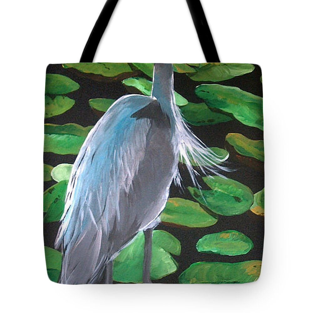 Paintings Tote Bag featuring the painting Lily And Egret by Racquel Morgan