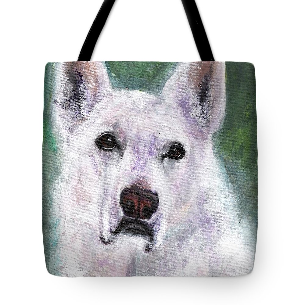 German Shepard Tote Bag featuring the painting Lily by Frances Marino