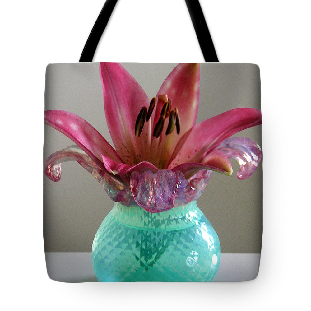 Nature Tote Bag featuring the photograph Lily In Antique Vase by Lucyna A M Green