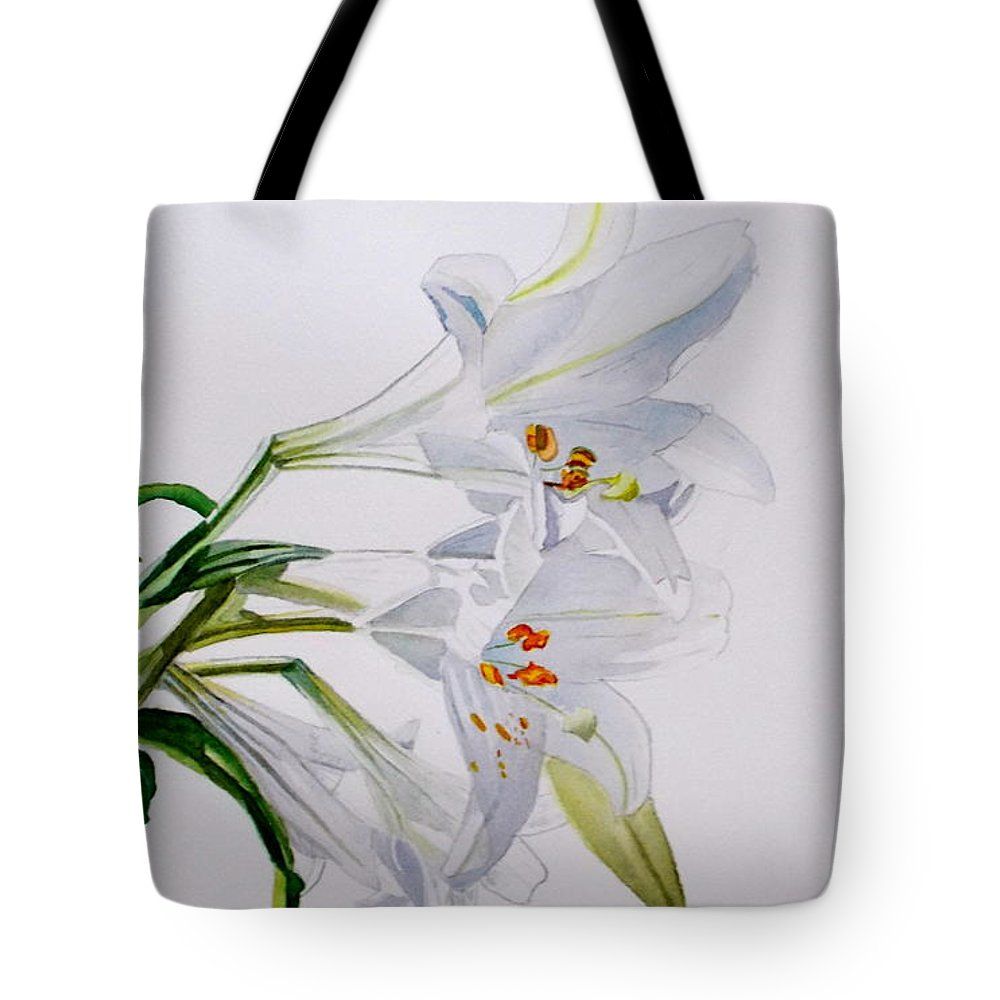 Lily. Flower Tote Bag featuring the painting Lily by Nicole Curreri