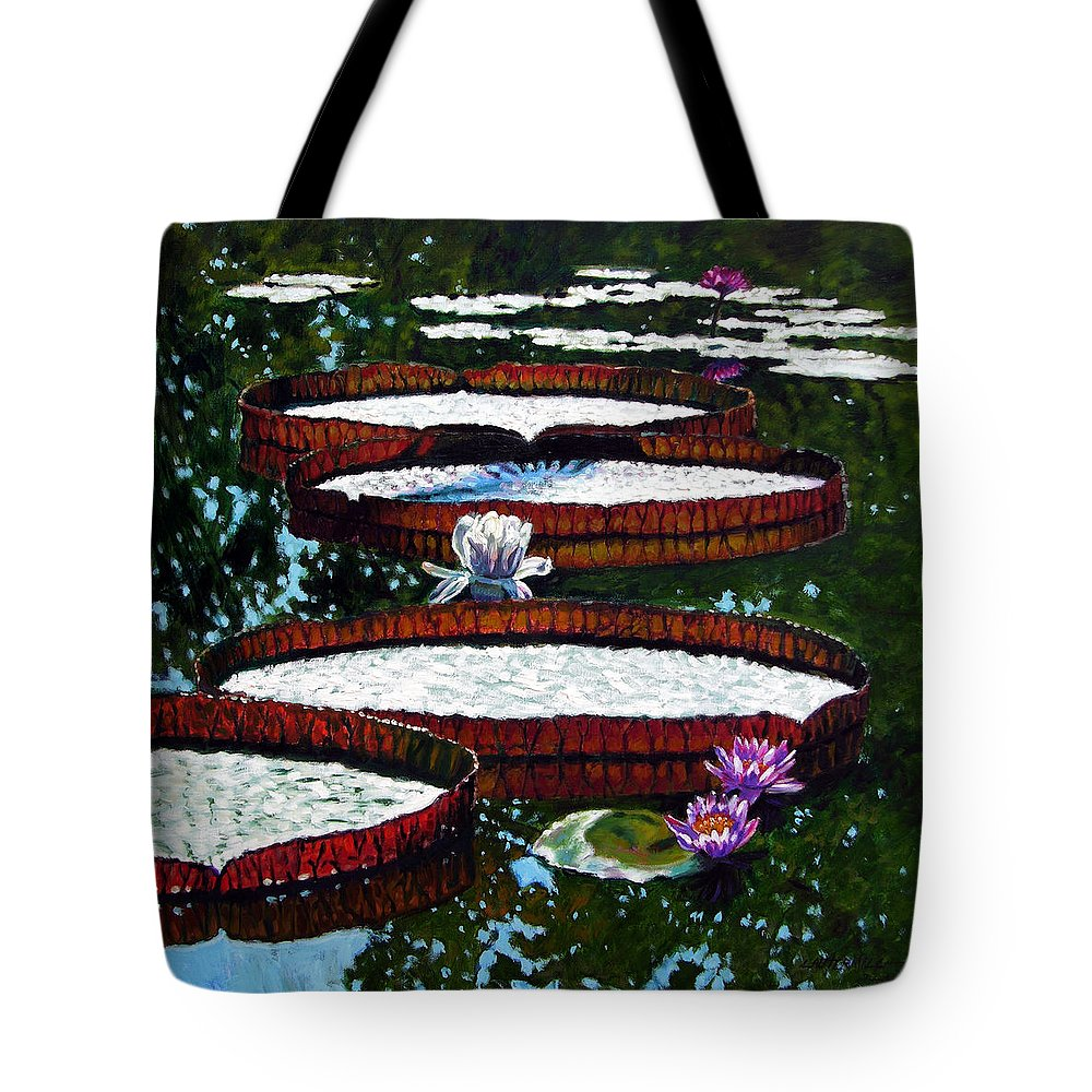 Garden Pond Tote Bag featuring the painting Lily Pad Highlights by John Lautermilch