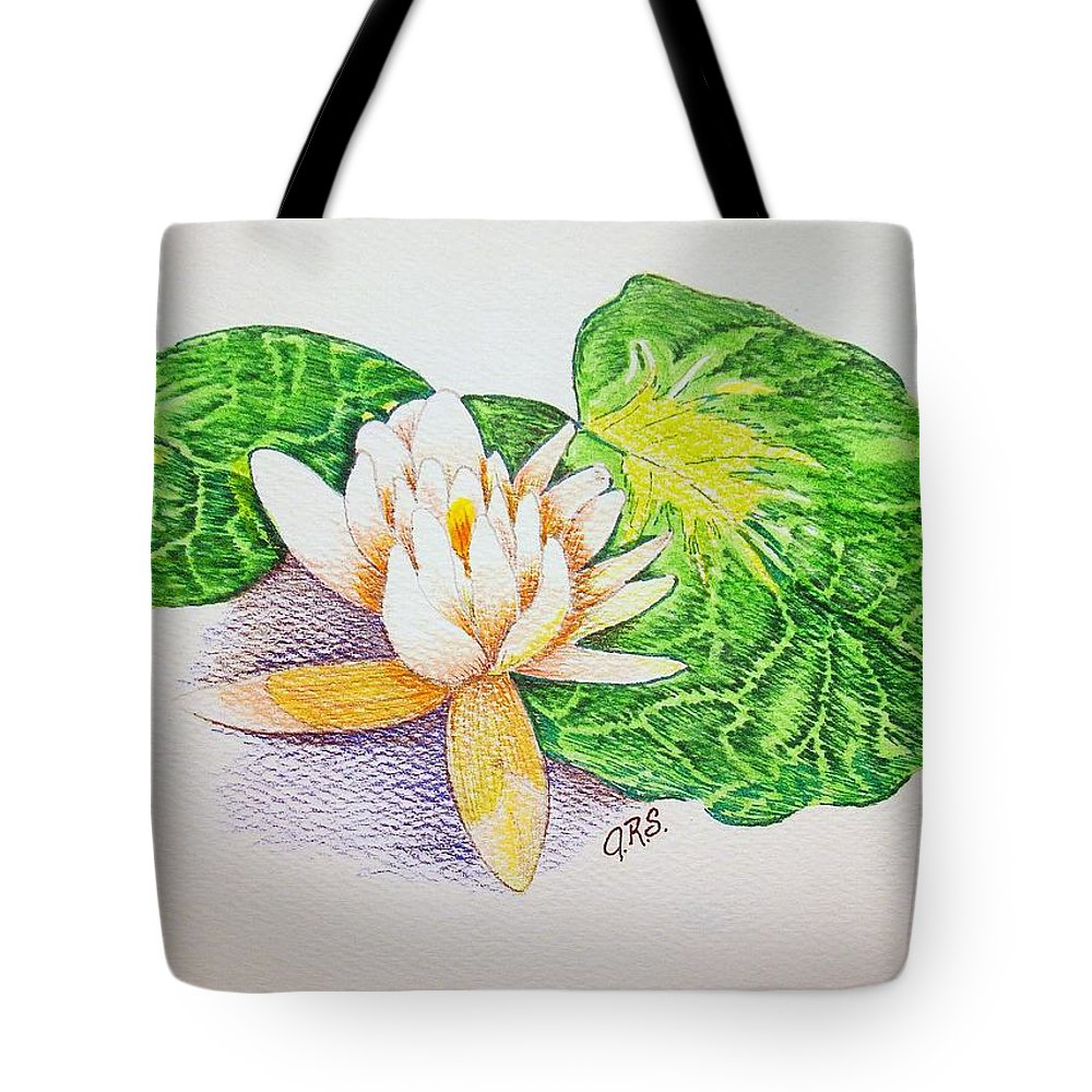 Stationery Card Tote Bag featuring the drawing Lily Pad by J R Seymour