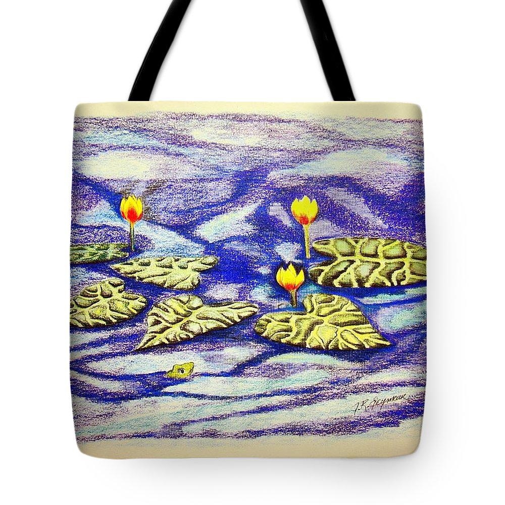 Stationery Card Tote Bag featuring the drawing Lily Pad Pond by J R Seymour
