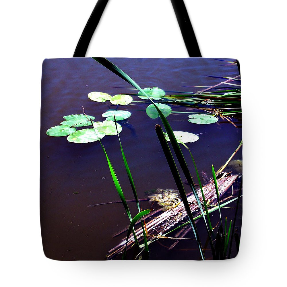 Reeds And Lily Pads Tote Bag featuring the photograph Lily Pads And Reeds by Joanne Smoley