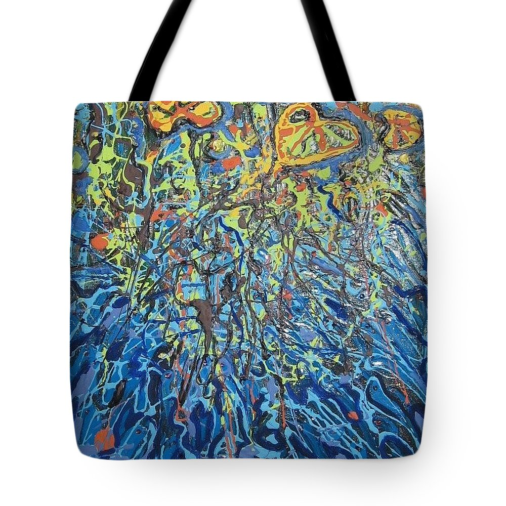 Lily Pads Paintings Tote Bag featuring the painting Lily Pads Water Lily Paintings by Seon-Jeong Kim