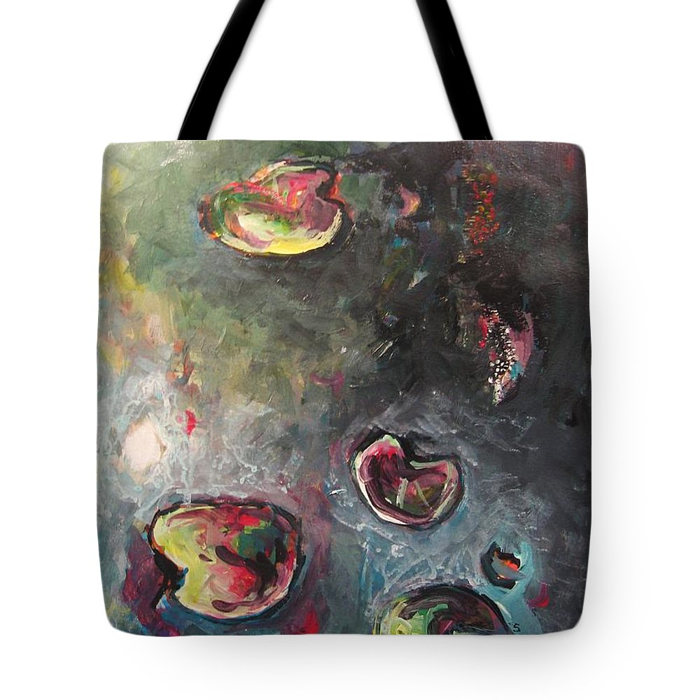 Abstract Painting Lily Pad Water Lake Blue Plant Paper Original Contemporary Canvas Tote Bag featuring the painting Lily Pads5 by Seon-Jeong Kim