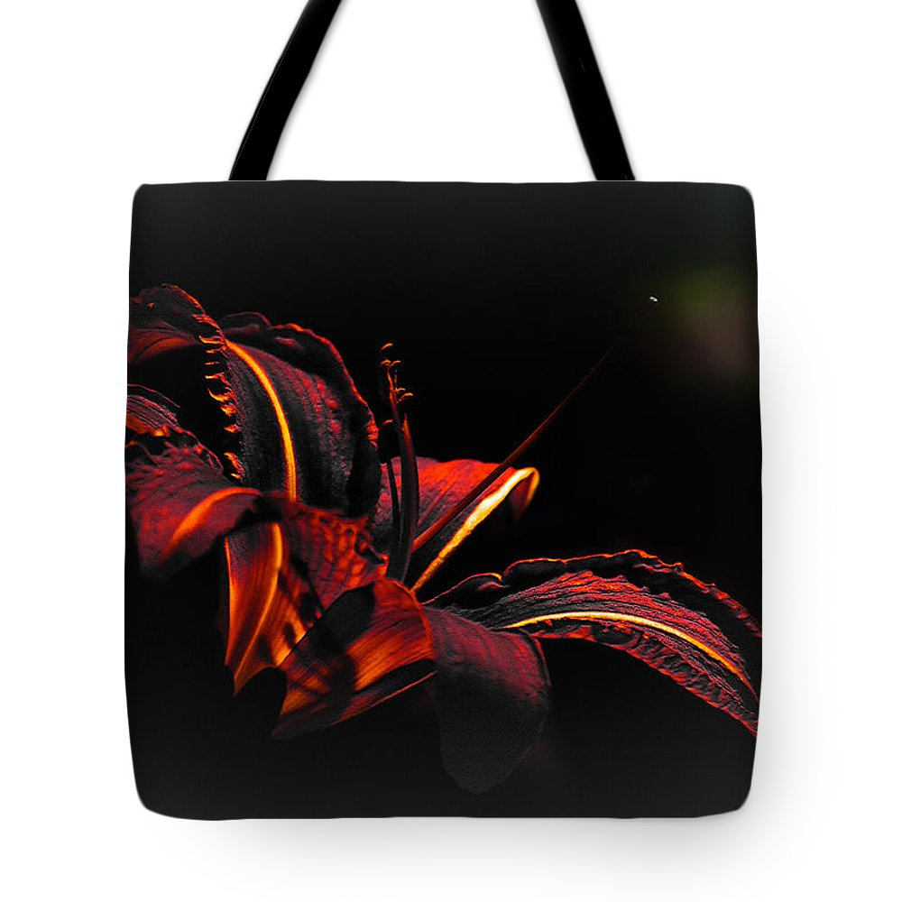 Elegance Tote Bag featuring the digital art Lily Red-black by Max Steinwald
