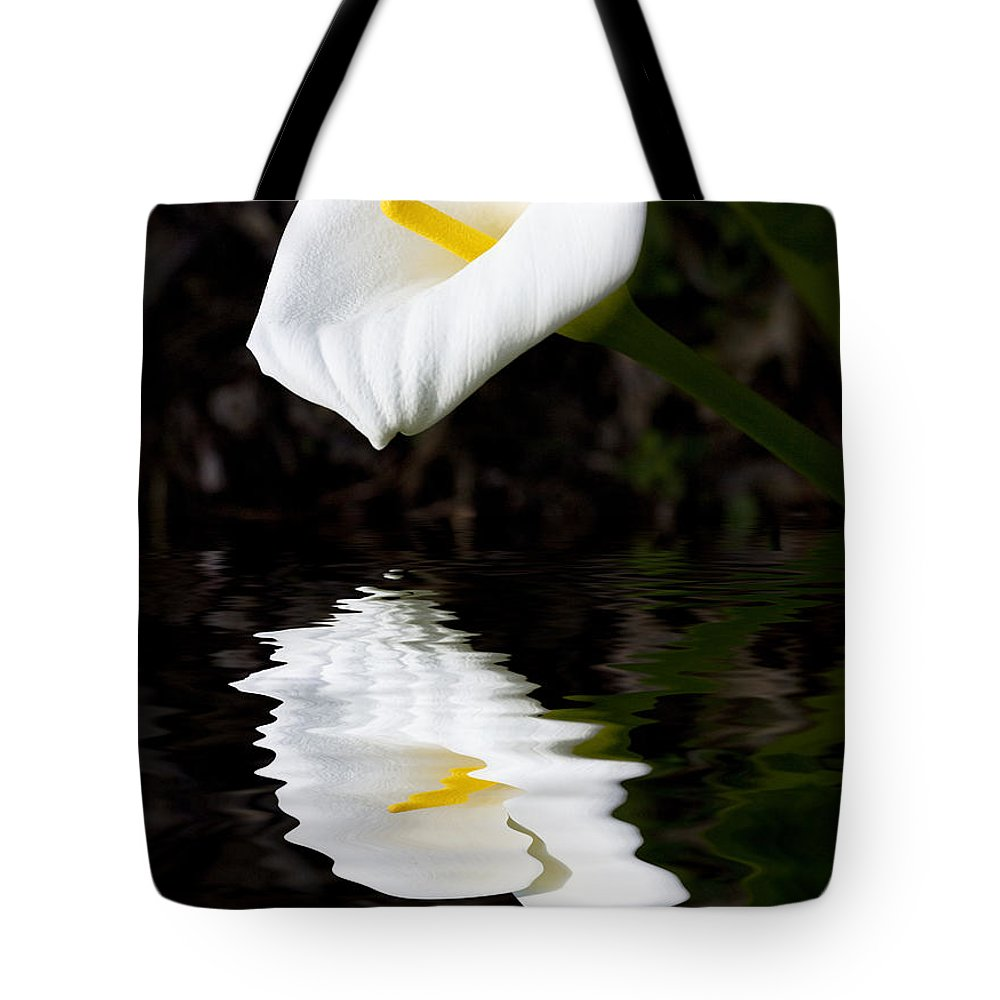 Lily Reflection Flora Flower Tote Bag featuring the photograph Lily Reflection by Sheila Smart Fine Art Photography