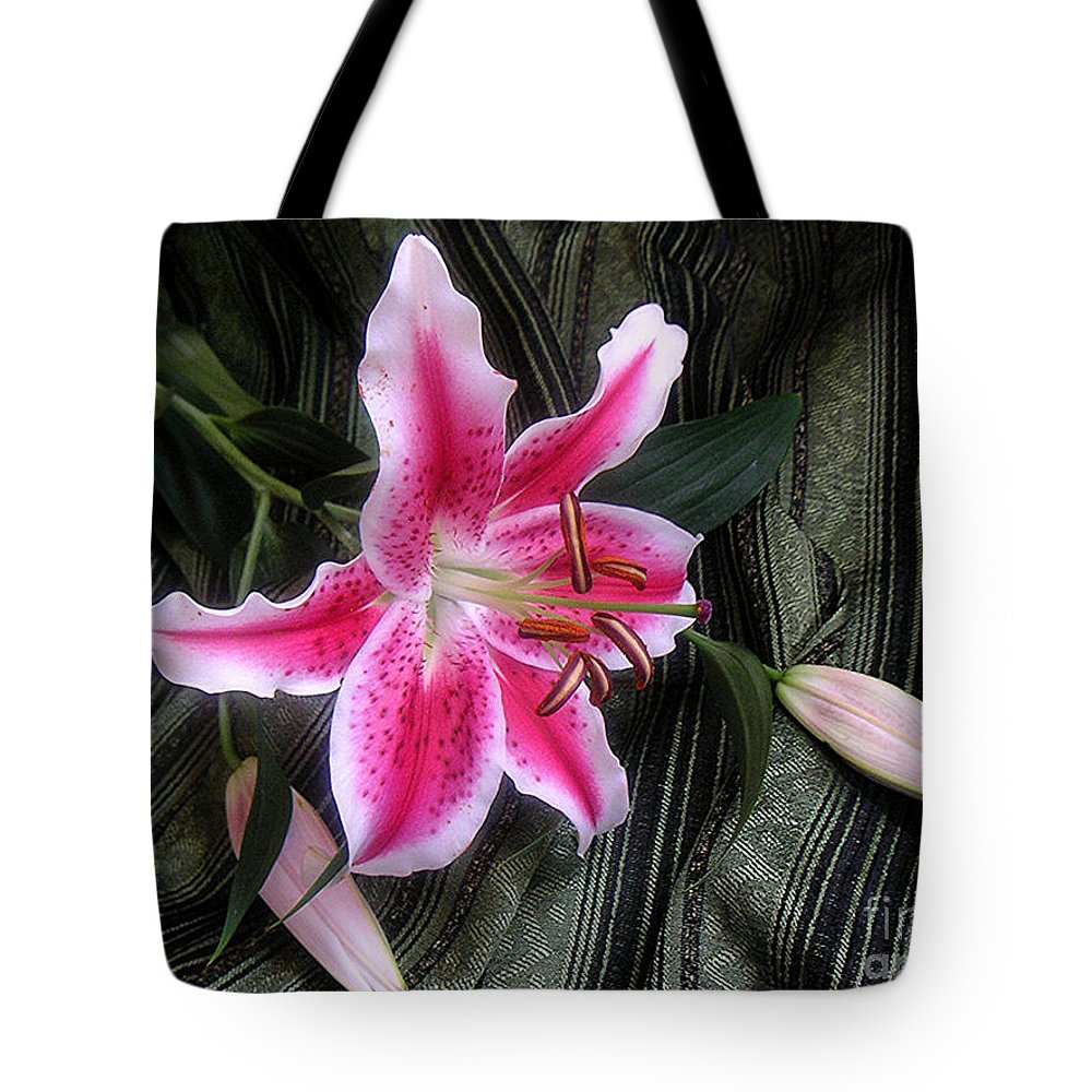 Nature Tote Bag featuring the photograph Lily Stem On Green Brocade by Lucyna A M Green