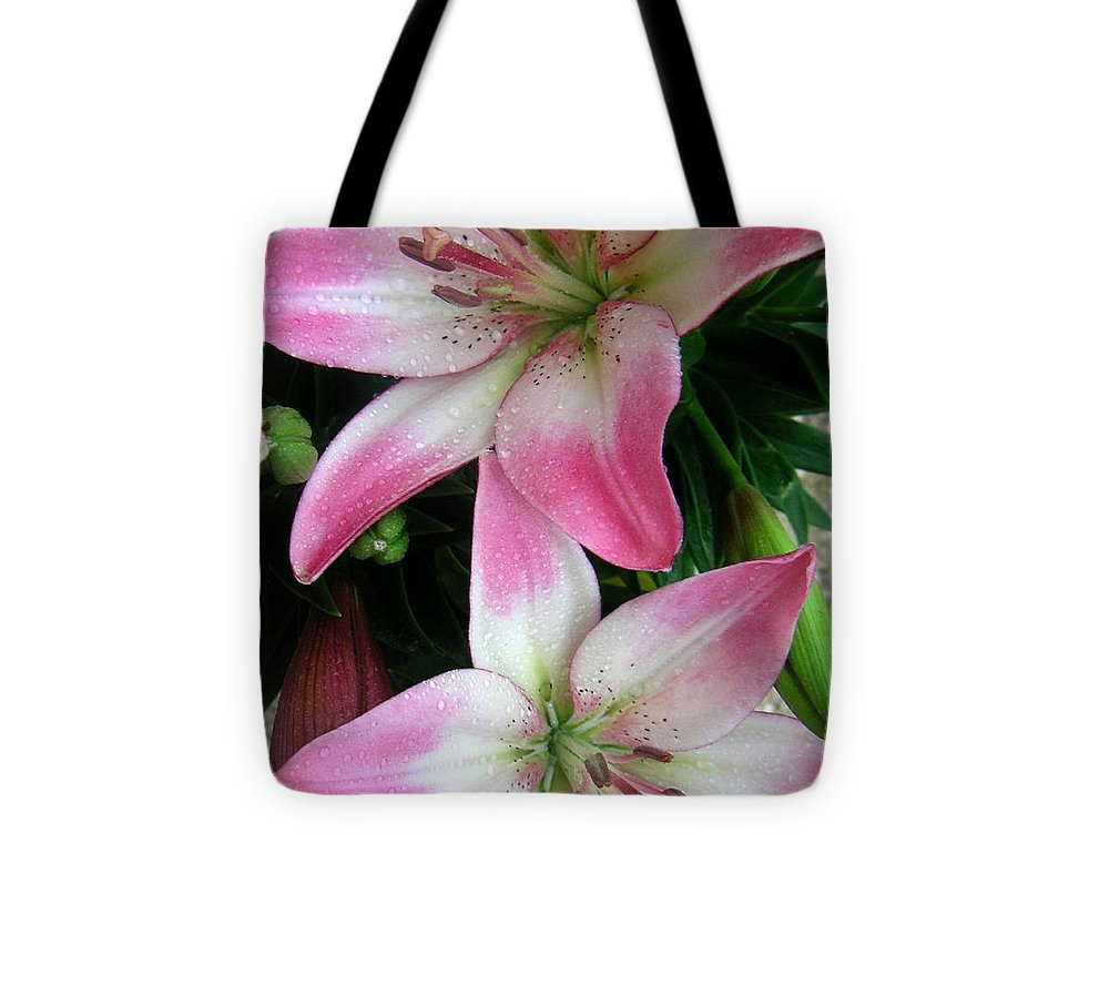 Nature Tote Bag featuring the photograph Lily Times Two by Lucyna A M Green