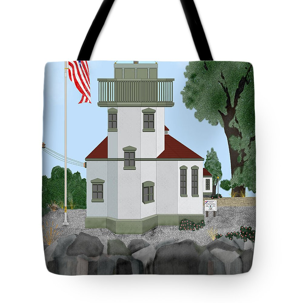Lighthouses Tote Bag featuring the painting Lime Kiln Light On San Juan Island by Anne Norskog