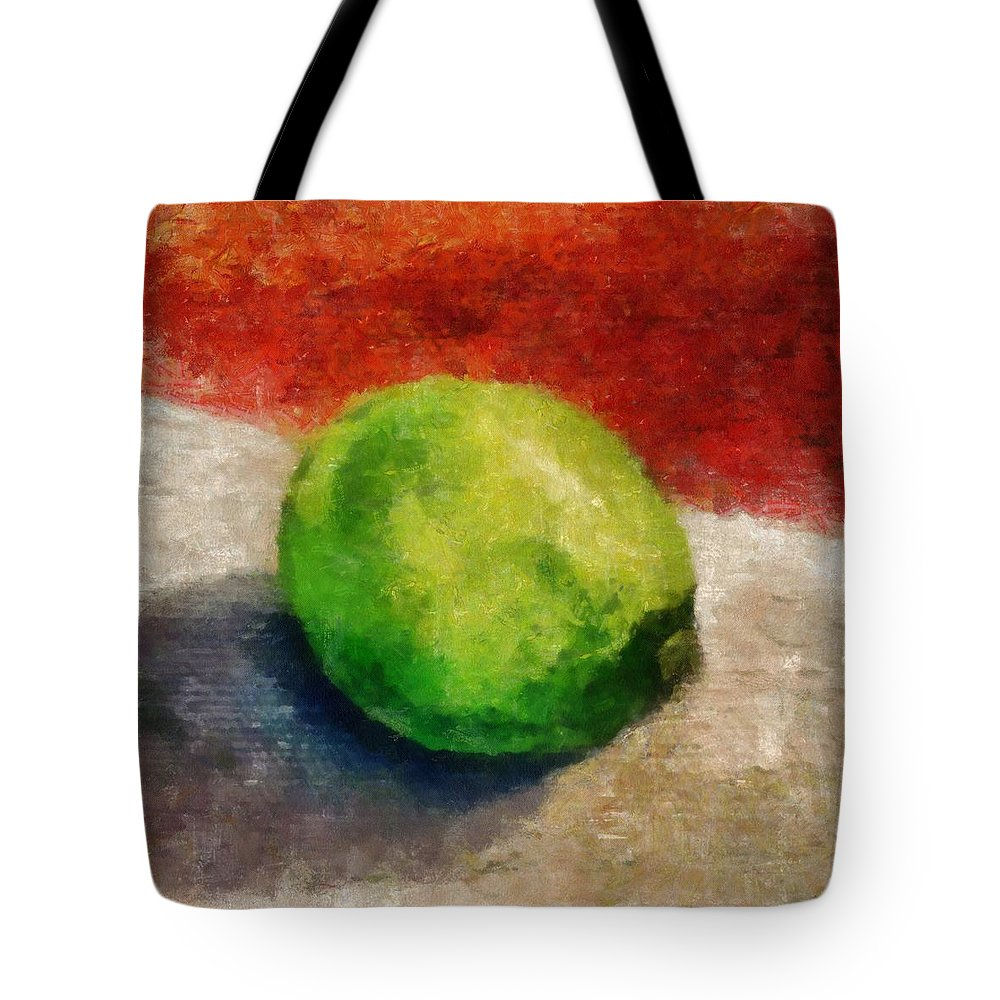 Lime Tote Bag featuring the painting Lime Still Life by Michelle Calkins
