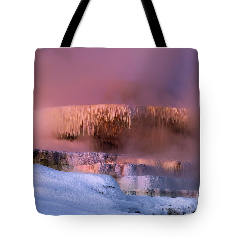 North America Tote Bag featuring the photograph Limestone Artwork Minerva Springs Yellowstone National Park by Dave Welling