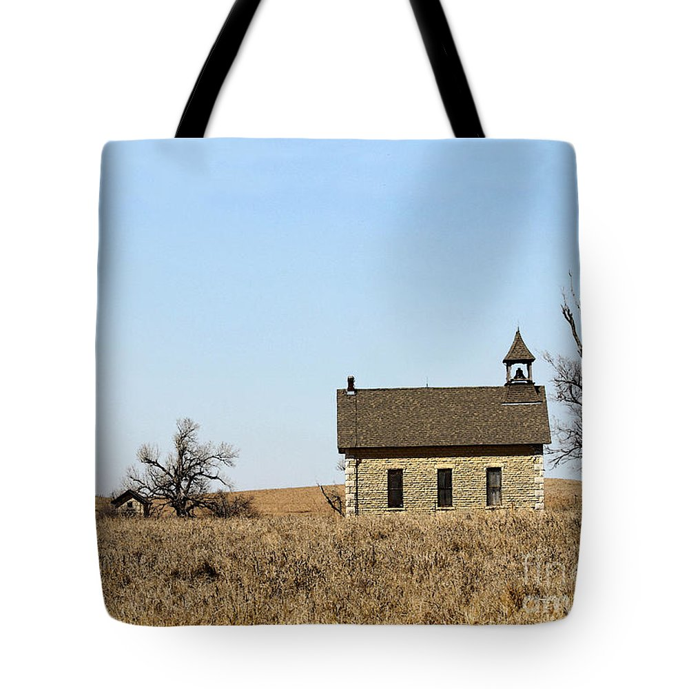 Bichet Tote Bag featuring the photograph Limestone Bichet School In Kansas by Catherine Sherman