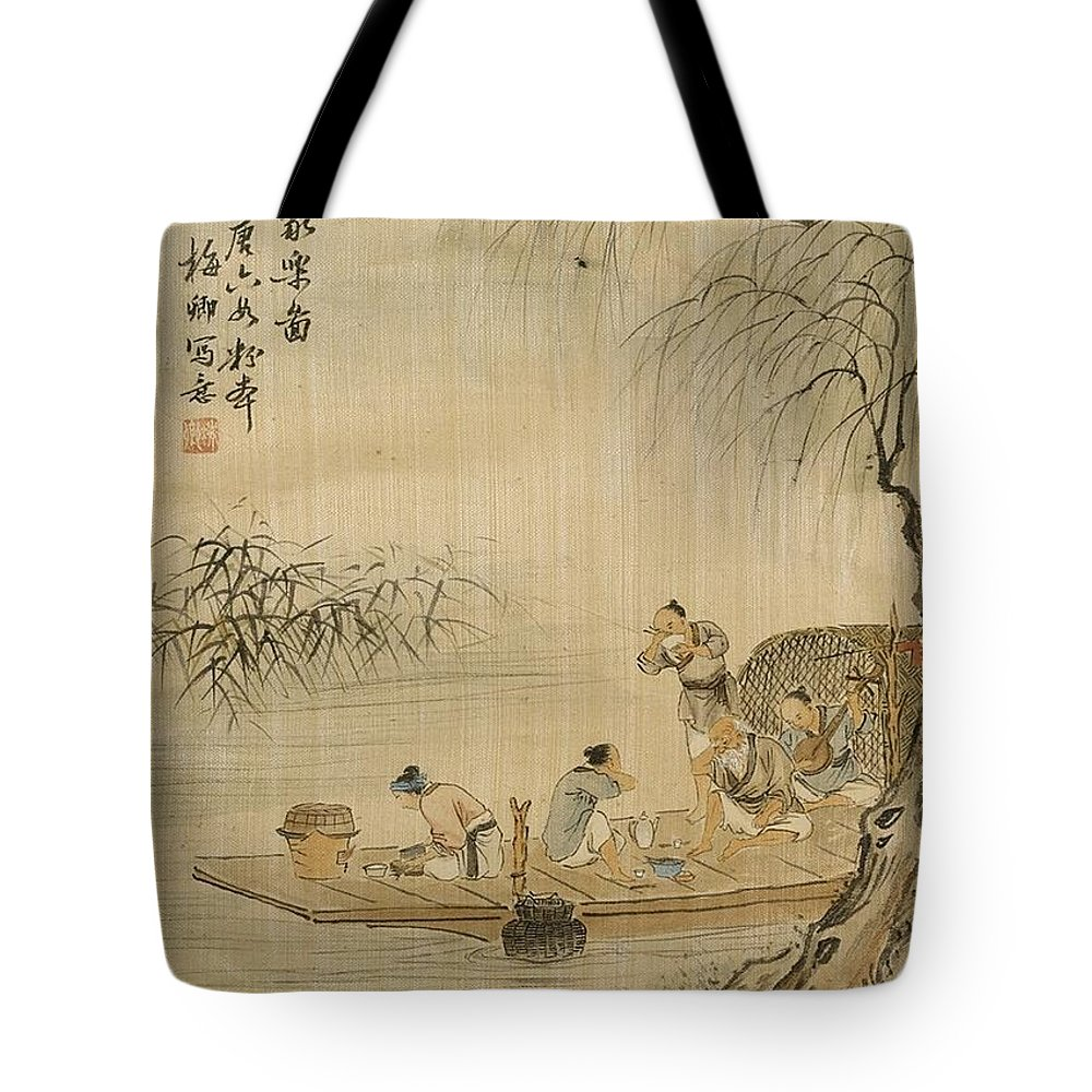 Lin Meiqing Tote Bag featuring the painting Lin Meiqing by MotionAge Designs