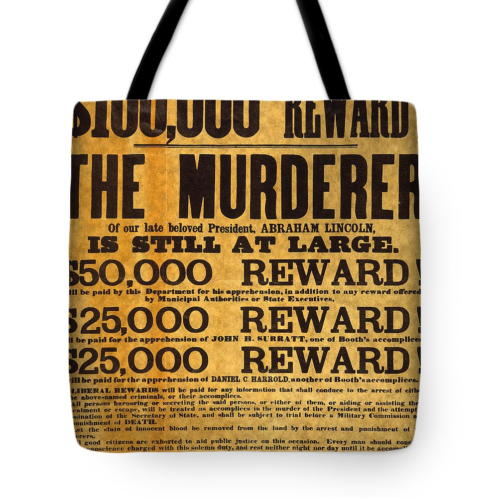 1865 Tote Bag featuring the photograph Lincoln Assassination by Granger