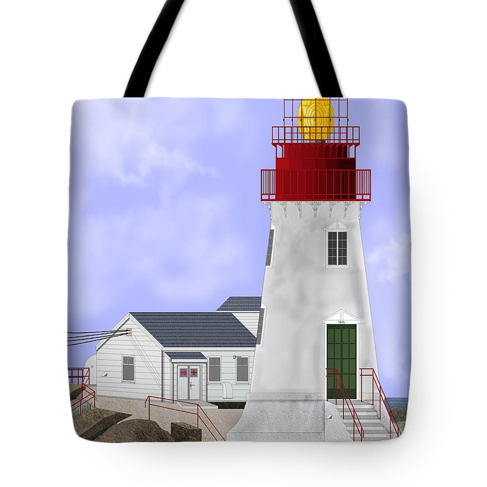 Lighthouse Tote Bag featuring the painting Lindesnes Norway Lighthouse by Anne Norskog