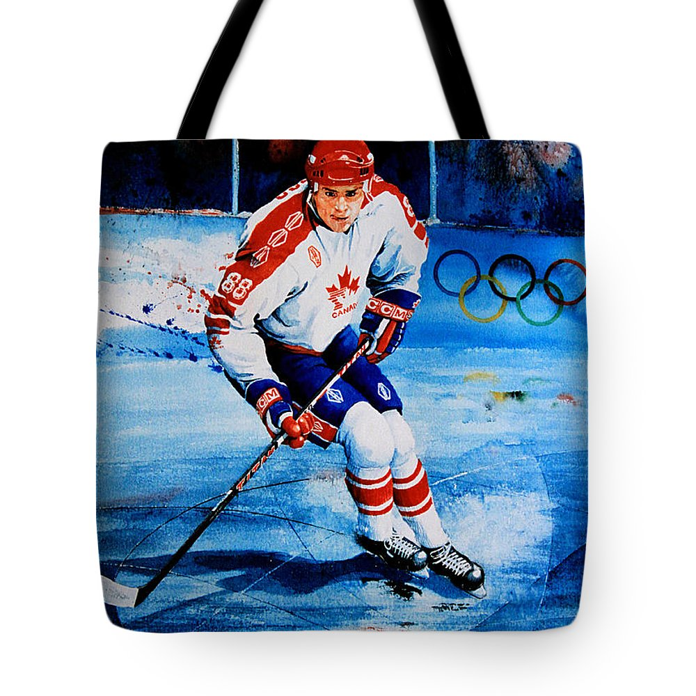 Sports Art Tote Bag featuring the painting Lindros by Hanne Lore Koehler