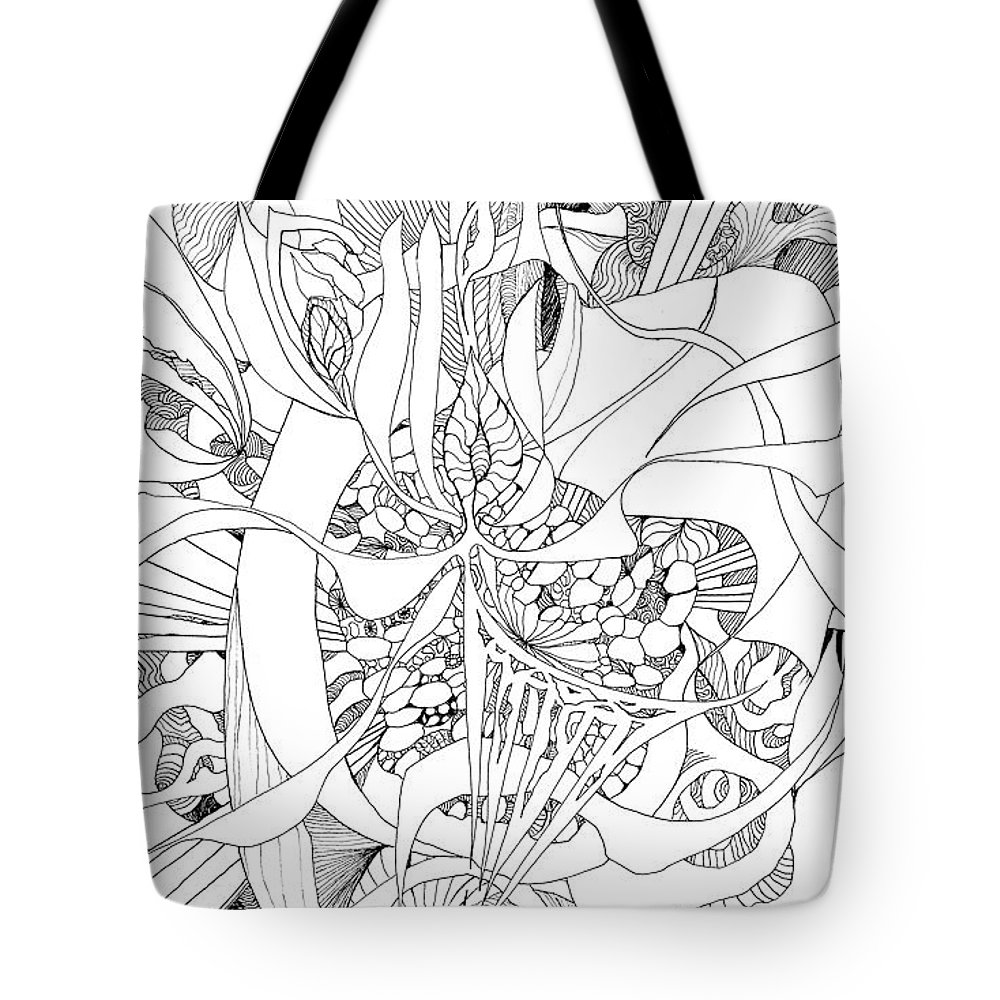 Botanic Botanical Blackandwhite Black And White Zentangle Zen Tangle Abstract Acceptance Circles Comfort Comforting Detailed Drawing Dreams Earth Tote Bag featuring the painting Mindfulness by Charles Cater