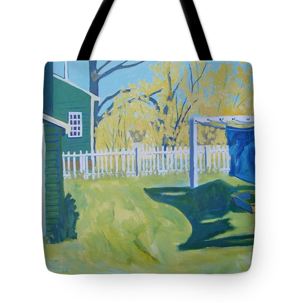Backyard Tote Bag featuring the painting Line Of Wash by Debra Bretton Robinson